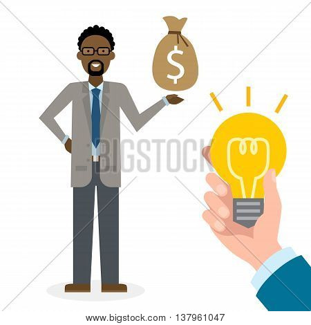 Businesswoman buy idea. Handsome african american businessman has money bag. Selling new ideas, getting money. Funding concept.