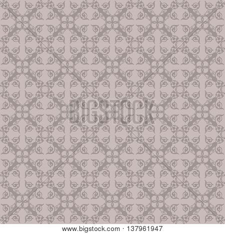 Vintage Abstract floral classic pattern ornament. Vector background for cards web fabric textures tile mosaic. Taupe color