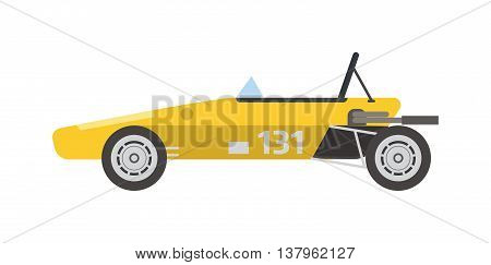 Race retro sport car. Supercar tuning retro sport car and flat style vector retro sport car illustration isolated on white background. Retro sport car vehicle automobile classic transport design.