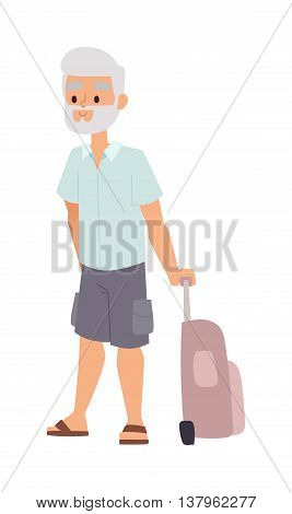 Summer old man people vacation traveling. Vacation old people happy family travel. Traveling pensioner man on vacation character vector illustration.