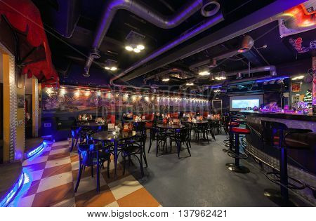 MOSCOW/RUSSIA - DECEMBER 2014. Interior modern cafe-club
