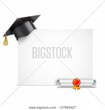 Graduation cap or mortar board and rolled diploma scroll with stamp. Vector education icon isolated on white background