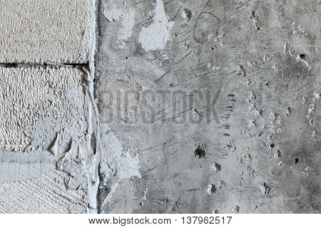 The texture of the concrete wall of foam blocks interface with stiff glue