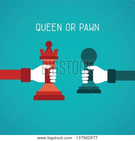 Queen Or Pawn Abstract Vector Concept In Flat Style