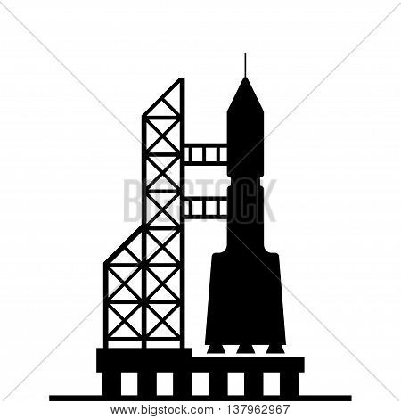 silhouette rocket ready for launch vector icon on white background