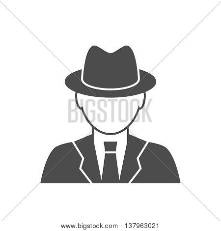 Detective avatar icon. Spy glyph icon. A man in a coat and hat