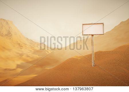 Colored Desert landscape with singboard. 3D Rendering