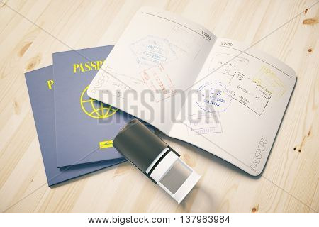 Passport with traveling stamps on light wooden desktop. Topview. Travel concept 3D Rendering