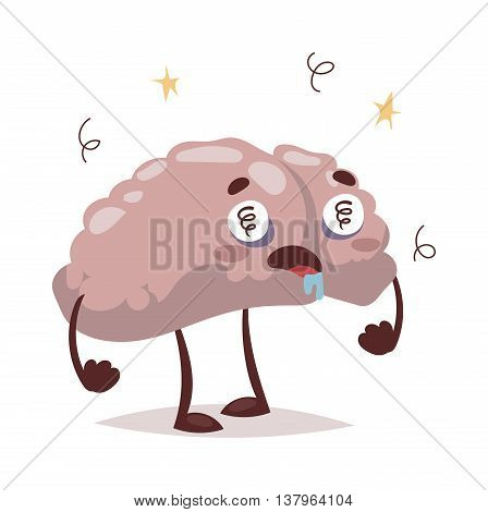 Bad brain vector character headache cartoon symbol. Emotional bad brain crushed character brainstorming icon headache stressed. Negative disease bad brain concept, problem headache.