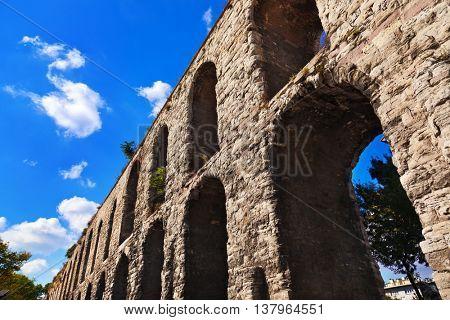 Aqueduct at Istanbul Turkey - archaeology background