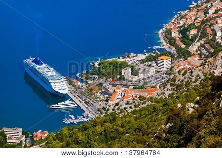 Cruise liner in Kotor Port - Montenegro - travel background