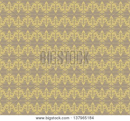 Vintage Abstract geometric floral classic pattern ornament. Vector background for cards web fabric texture stile mosaic. beige color