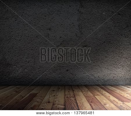 old room with concrete wall and wooden floor