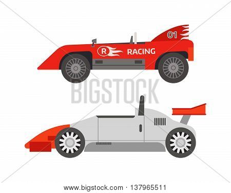Race sport car. Supercar tuning sport car and flat style vector sport car illustration isolated on white background. Fast car vehicle automobile classic transport design.