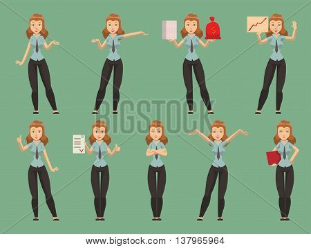 Pretty, young business presentation women giving conference meeting setting. Vector character set business presentation women female office group. Business presentation training working people set.