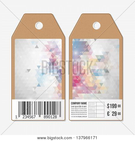 Tags on both sides, cardboard sale labels with barcode. Polygonal design, colorful geometric triangular backgrounds.