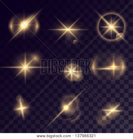 Vector starlights effects. Set of golden sparks on transparent background. Release clipping mask for work.