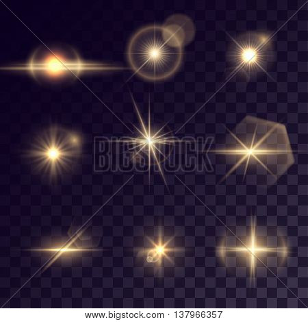 Vector starlights effects. Set of golden outbursts on transparent background. Release clipping mask for work.
