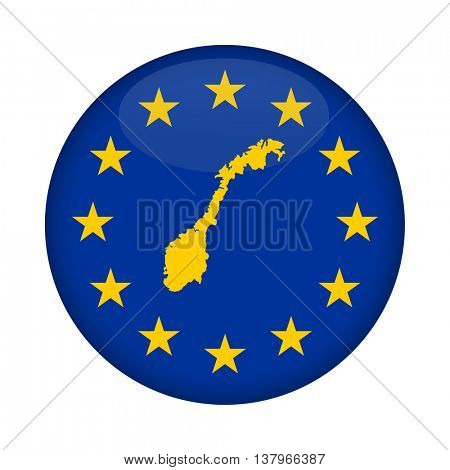 Norway map on a European Union flag button isolated on a white background.