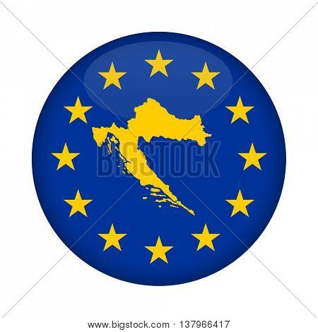 Croatia map on a European Union flag button isolated on a white background.
