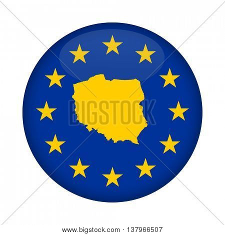 Poland map on a European Union flag button isolated on a white background.
