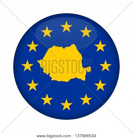 Romania map on a European Union flag button isolated on a white background.