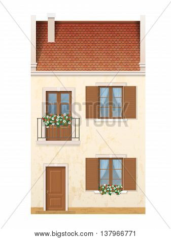 The historic facade of the European house. Balcony decorated with flowers. Traditional old street of the city. Vector detailed architectural illustration.