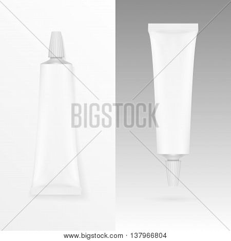 Tube Of Cream Or Gel Grayscale White Clean. Illustration Isolated. Mock Up Template Ready For Your Design. Vector EPS10