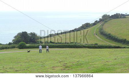 Landscape in Beer Head on Jurassic Coast near village Beer Devon