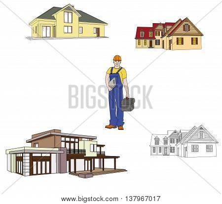 builder and the house which he can build. vector illustration.