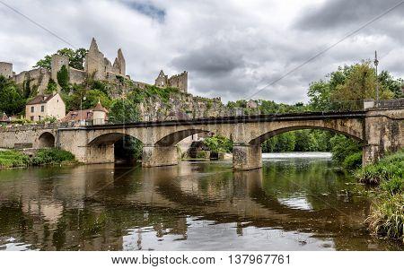 Historic bridge into the village Angles-sur-l'Anglin, France