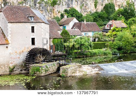 Old mill on the river Anglin at Angles-sur-l'Anglin, France