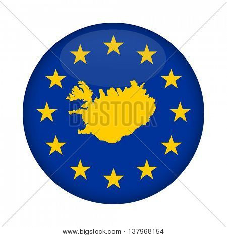 Iceland map on a European Union flag button isolated on a white background.