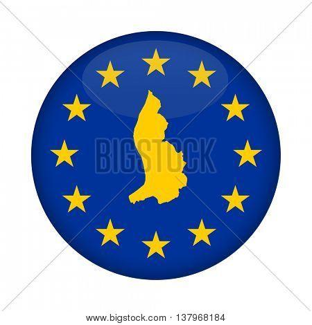 Liechtenstein map on a European Union flag button isolated on a white background.