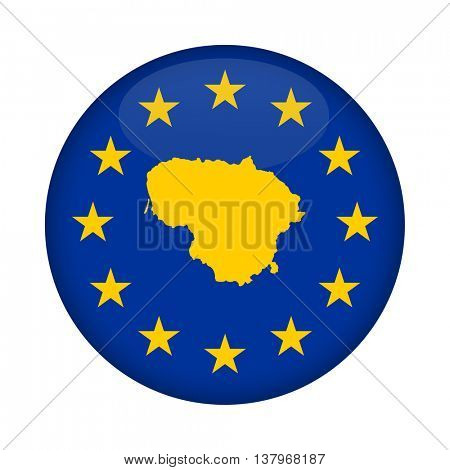 Lithuania map on a European Union flag button isolated on a white background.