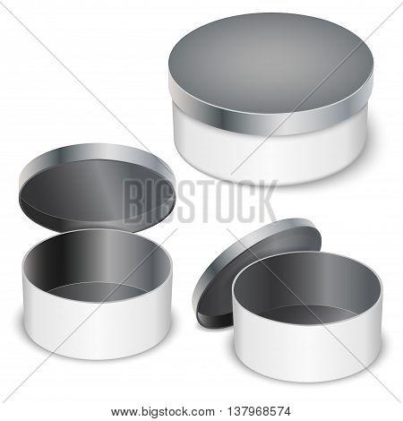 open round metal box set isolated on white background