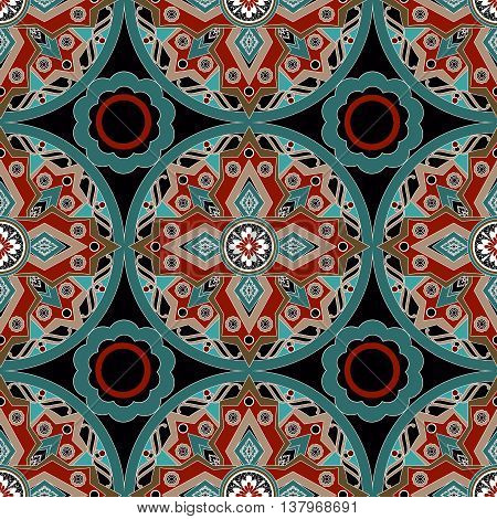 African ethno abstract seamless tribal pattern with decorative folk elements background