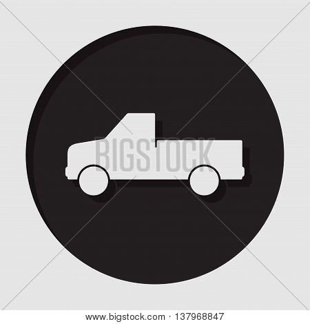 information icon - dark circle white pickup with a flatbed and shadow