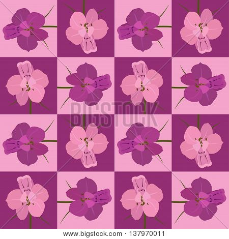 Pink and crimson seamless flower pattern. Vector seamless texture. Use for wallpaper, pattern fills, web page background.