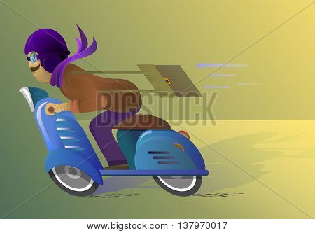 A man riding a blue scooter in a purple helmet with a travel bag. Perhaps pochtalen.