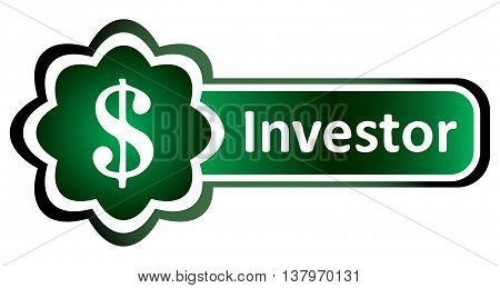 Icon with a symbol of dollar and an inscription investor