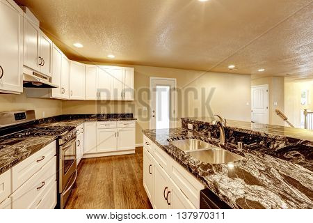 Kitchen Room With White Appliances, Kitchen Island
