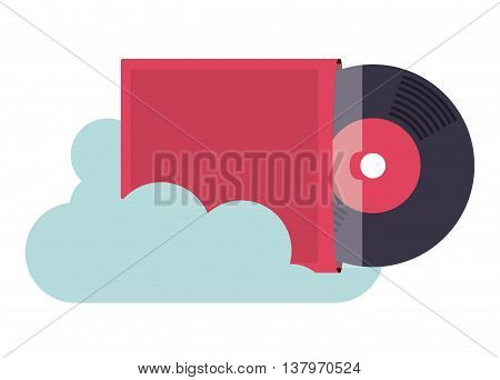 vinyl music with cloud isolated icon design, vector illustration  graphic