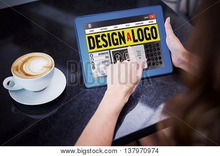 Webpage for create a logo against woman having coffee and using her tablet