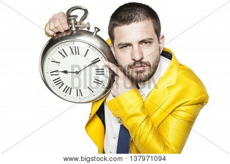 Businessman Shows The Time On The Clock