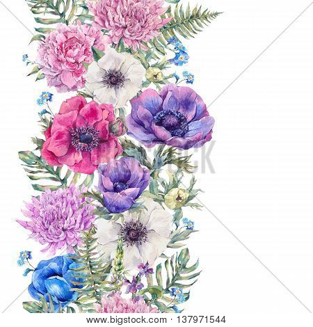 Summer watercolor vintage floral seamless border with blooming anemones, peony, chrysanthemum, ferns, wild and garden flowers, botanical natural anemone Illustration