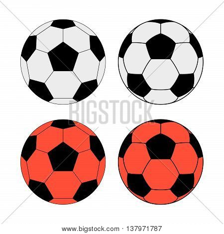 Vector illustration of classic soccer balls white for normal conditions and orange for the snow