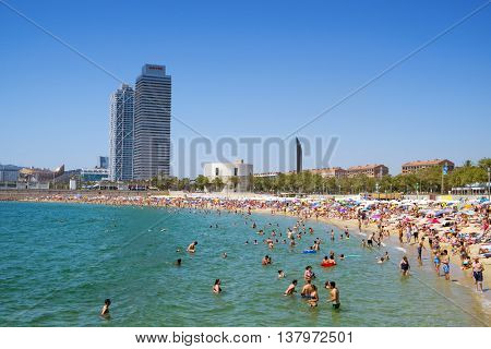 BARCELONA, SPAIN - JULY 10: People at Nova Icaria Beach on July 10, 2016 in Barcelona, Spain, and Hotel Arts and Mapfre Tower in the background. This busy beach is mainly frequented by the locals