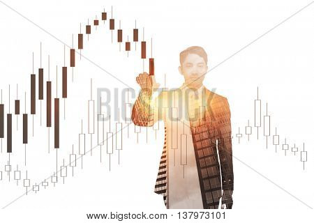 Stern asian businessman pointing against graph on white background