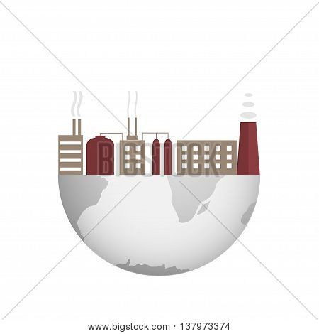 Environmental pollution illustration. World map with plants and factories. Toxic waste. Globe. Earth. Smog. Total disaster